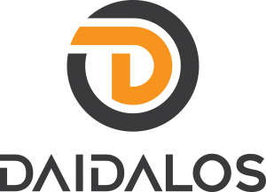 DAIDALOS® Spezialist für LED Edelstahl Handlauf | großes Farblogo vertikal mit Daidalos in Schrift