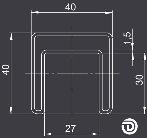DAIDALOS® - Edelstahl-Handlauf Emil, Nutrohr ø48,3x1,5mm quadratisch, Glasleistenrohr, sw