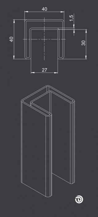 DAIDALOS® - Edelstahl beleuchteter Handlauf Emil mit Nutrohr eckig 40x40x1,5mm