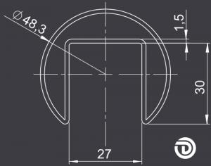 DAIDALOS® - Edelstahl-Handlauf Paula, Nutrohr ø48,3x1,5mm, Glasleistenrohr, sw