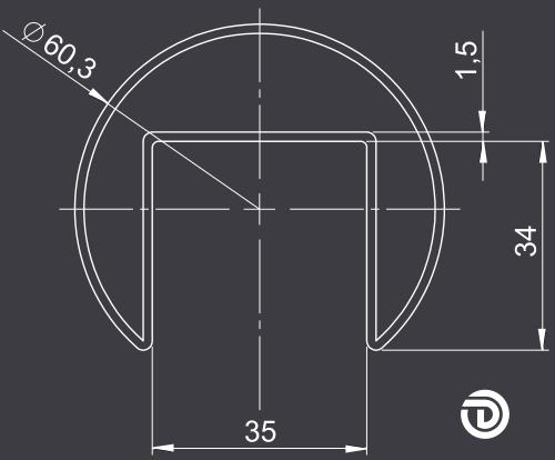 DAIDALOS® - Edelstahl-Handlauf Nina, Nutrohr ø60,3x1,5mm, Glasleistenrohr, sw