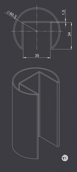 DAIDALOS® - Beleuchteter Handlauf Nina mit rundem Nutrohr ø60,3x1,5mm aus Edelstahl