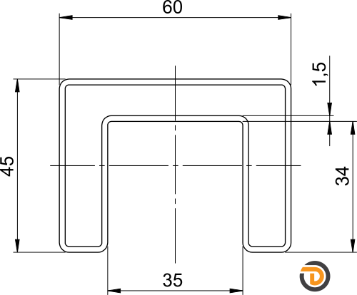 DAIDALOS® - transparente Profildarstellung eines beleuchteten Handlaufs - Modell Ronny mit Nutrohr eckig 60X45X1,5mm aus Edelstahl
