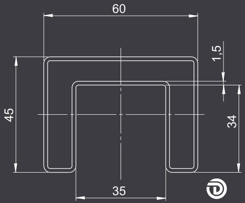 DAIDALOS® - Frontprofil eines beleuchteten Handlaufs - Modell Ronny mit Nutrohr eckig 60X45X1,5mm aus Edelstahl