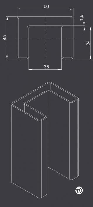 DAIDALOS® - Beleuchteter Handlauf Ronny mit Nutrohr eckig 60X45X1,5mm aus Edelstahl