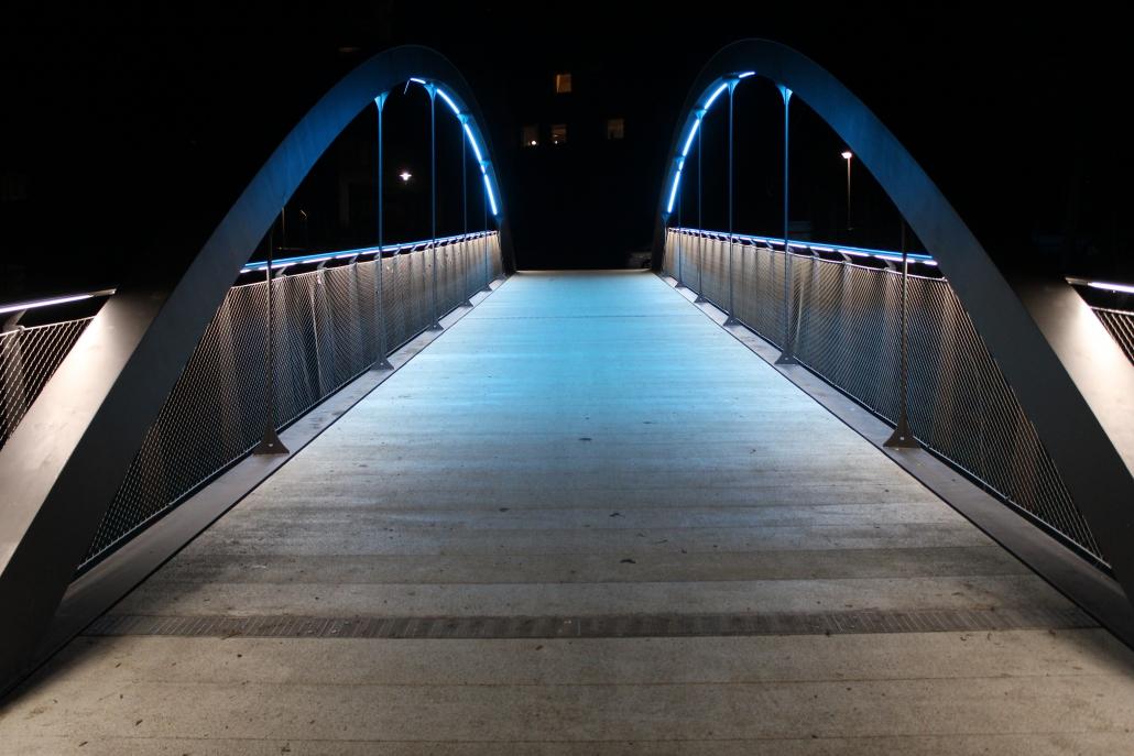 DAIDALOS® Edelstahl Handlauf mit LED - Brücke Herrensteg Crailsheim